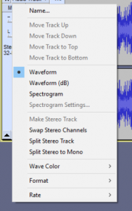 Audio Track Dropdown Menu