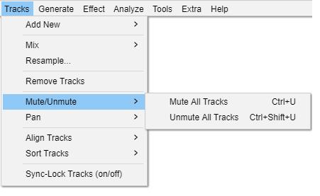 Tracks Menu